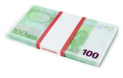 um grupo de 100 euro Fotos de Stock Royalty Free