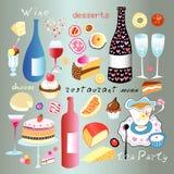Um grupo de alimento e de bebida Fotografia de Stock