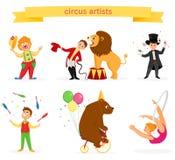 Um grupo de artistas do circo ilustração royalty free