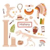 Um grupo de assuntos para uma lição histórica isolados em um fundo branco O estudo da história antiquity Ilustra??o do vetor ilustração do vetor