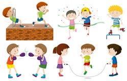 Um grupo de atividades das crianças ilustração stock