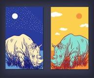 Um grupo de bandeiras do vetor com rinoceronte Fotos de Stock