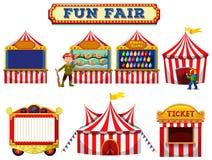 Um grupo de barraca da feira de divertimento ilustração royalty free
