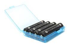 Um grupo de baterias no caso fotografia de stock royalty free