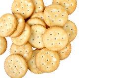 Um grupo de biscoitos salgados redondos Fotografia de Stock Royalty Free