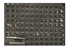 Um grupo de bocais para a chave de fenda elétrica foto de stock