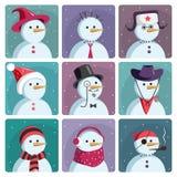 Um grupo de bonecos de neve dos ícones do vetor Imagem de Stock