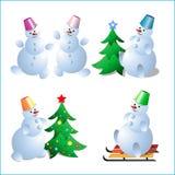 Um grupo de bonecos de neve para um cartão dos anos novos Foto de Stock