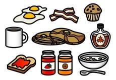 Ícones do pequeno almoço Fotografia de Stock