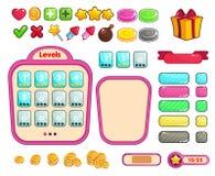 Um grupo de botões para o projeto dos jogos e das aplicações Jogo dos doces de UI ilustração stock