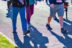 Um grupo de caminhantes no caçador anual da cauda do vale SPCA 5K de Roanoke fotos de stock