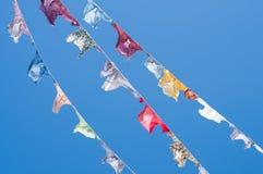 Um grupo de camisas coloridas em um clothesline Imagem de Stock
