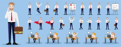 Um grupo de caráteres do homem de negócios em um fundo azul ilustração royalty free
