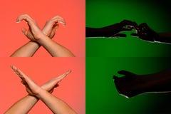 Um grupo de caráteres nos dedos das mãos humanas que são descritas por silhuetas em um fundo verde isolado fotografia de stock royalty free
