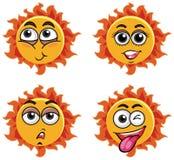 Um grupo de cara da expressão de Sun ilustração stock
