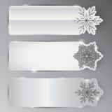 Um grupo de cartões com flocos de neve Foto de Stock Royalty Free