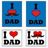 Um grupo de cartazes eu amo meu paizinho Eu amo meu paizinho Fotografia de Stock Royalty Free