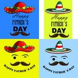 Um grupo de cartazes eu amo meu paizinho Eu amo meu paizinho Cartazes com a imagem do bigode mexicano do dia de pai e de um sombr Fotografia de Stock Royalty Free