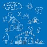 Um grupo de casas dos desenhos animados pintadas à mão Foto de Stock Royalty Free