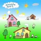Um grupo de casas dos desenhos animados pintadas à mão Fotos de Stock