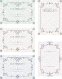 Um grupo de certificados Certificados do molde, diplomas, letras, Imagens de Stock Royalty Free