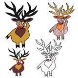 Um grupo de cervos do Natal do vetor Imagens de Stock