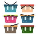 Um grupo de cestas do mantimento para bens do supermercado Illustrat do vetor Imagem de Stock Royalty Free