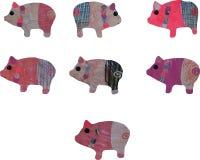 Um grupo de colagem da aquarela dos porcos do papel feito a mão e da pintura ilustração stock