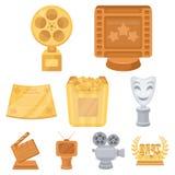Um grupo de concessões para as visões do filme Concessões do ouro, da prata e do bronze ao diretor, ator Moovie concede o ícone d Imagem de Stock