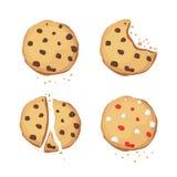 Um grupo de cookies do chocolate Mordido, quebrado Ícone da cookie de Choco Ilustração do vetor ilustração royalty free