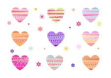 Um grupo de corações coloridos para o dia de Valentim, cartão do Valentim Uma ilustração do dia de Valentim, fundo, um quadro par ilustração royalty free