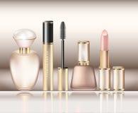 Um grupo de cosméticos e de perfumes decorativos para a princesa pequena ilustração stock