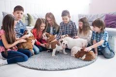 Um grupo de crianças que jogam com o buldogue dos cachorrinhos no berçário Fotografia de Stock Royalty Free
