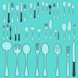 Um grupo de cutelaria Colher da cutelaria, forquilha, misturador, facas Cutelaria para cozinhar Um grupo de cutelaria para servir Imagem de Stock Royalty Free