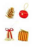 Um grupo de decorações do Natal Imagem de Stock