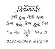 Um grupo de descontos, dígitos, sinais de moeda Rotulação do vetor, caligrafia Uma inscrição para lojas e preços Sinais de moeda ilustração do vetor