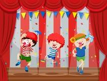 Um grupo de desempenho das crianças na fase ilustração do vetor
