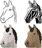 Um grupo de desenhos de uma cabeça de cavalo ilustração stock