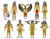 Um grupo de deuses do nativo americano ilustração do vetor