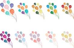 Um grupo de dez pacotes de multi balões coloridos sobre Vetor ilustração royalty free