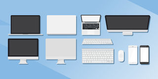 Um grupo de dispositivos Computadores, telefones e tabuletas Imagem de Stock Royalty Free