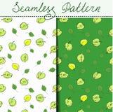 Um grupo de duas maçãs dos testes padrões e folhas consistindo sem emenda do verde Fotos de Stock