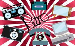 Um grupo de eletrônica retro, tecnologia Velho, vintage, retro, moderno, tevê antiga do cinescópio, computador com disco flexível ilustração do vetor