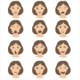 Um grupo de emoções fêmeas no cabelo moreno dos desenhos animados do projeto de caráter da cara e nas uma variedade de expressões ilustração royalty free