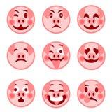 Um grupo de emoticons do smiley porco alegre Ilustração ilustração stock