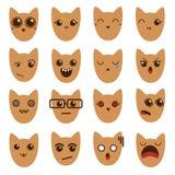Um grupo de emoticons dos emoticons Gato de Emoji Fotos de Stock Royalty Free