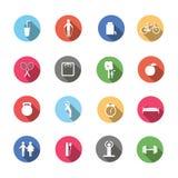 Um grupo de estilo de vida saudável dos ícones coloridos ilustração royalty free
