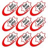 Um grupo de etiqueta da compra com inscrição na forma da estrela O melhor preço, o melhor vendedor, o melhor valor, preço agradáv Fotografia de Stock Royalty Free