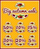 Um grupo de etiquetas para a venda do outono Venda grande do outono Grandes discontos Discontos da estação Etiquetas, etiquetas p Fotos de Stock