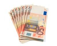 Um grupo de euro- notas de banco Foto de Stock